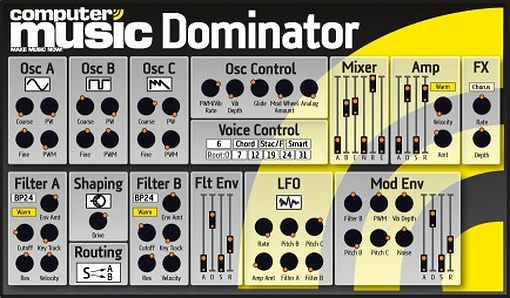 Computer Music Dominator, analog Synthesizer VST Plugin