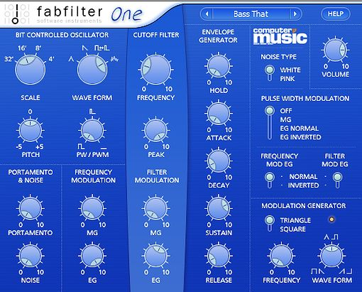FabFilter One 2.01 Synthesizer Plugin mit vielen Presets.
