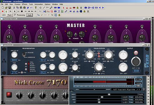 Plugins für Gitarren Amplifikation im Audio Editor Wavosaur