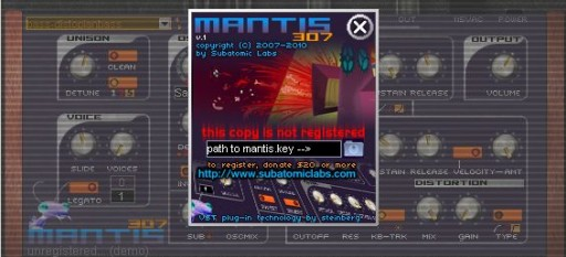 subatomic labs - mantis 307 synthesizer plugin vst NAG SCREEN