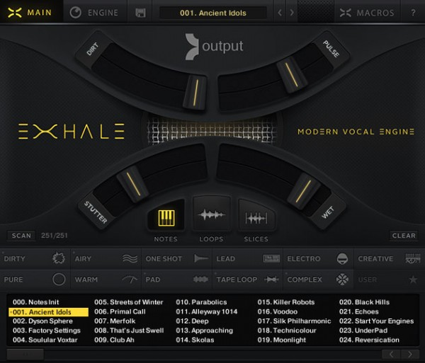 Der Main Screen von EXHALE