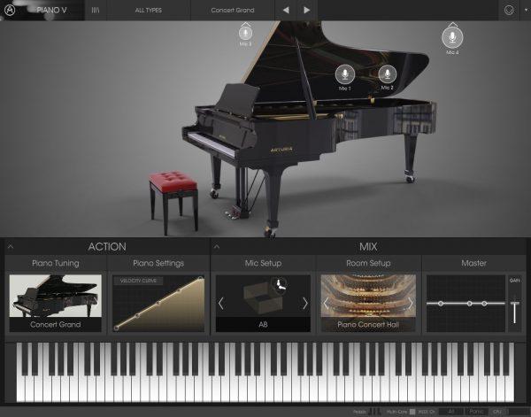 Das Arturia Piano V hier mit dem Modell Concert Grand